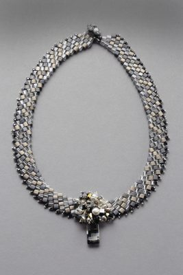 "Lindsay O'Keefe - 16 1/2"" cube bead choker, with Swarovski crystals, freshwater pearls and Czeck glass focal point"