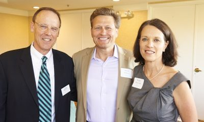 David Baldacci with Literacy Council Board Chair Joe Mann-Stadt and Rendi Mann-Stadt