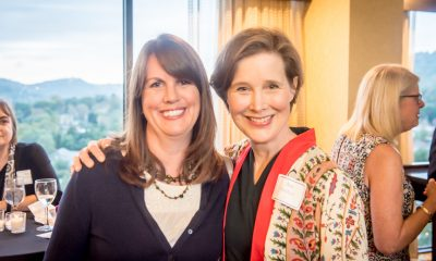Authors Elizabeth Kostova and Ann Patchett at the VIP reception at the Top of the Plaza