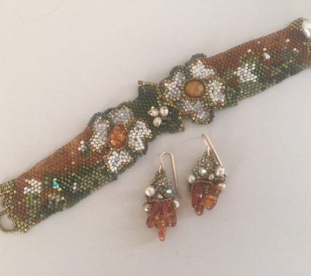 "Amolia Willowsong – ""Garden Tapestry"" bracelet and earrings"