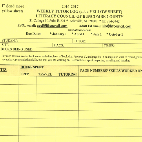 Yellow sheet: attendance log for one-on-one tutors